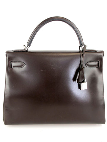 HERMES Kelly 28cm Brown Box Leather with Palladium Hardware