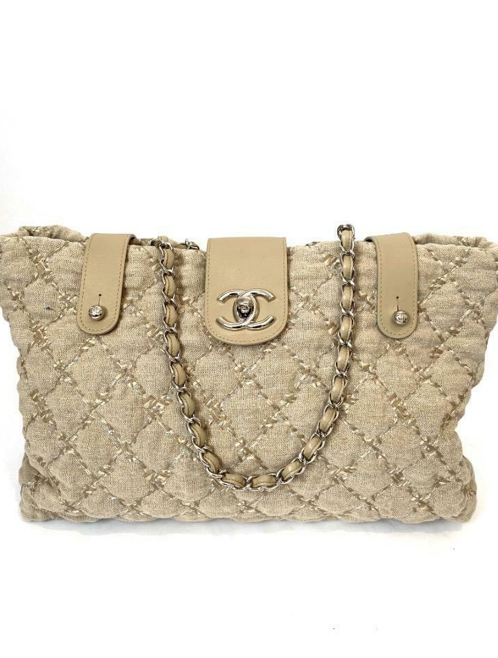 Chanel Large Beige Linen Quited Tote with SHW From the 2011 Collection