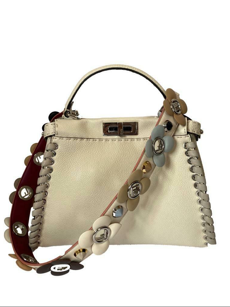 Fendi Selleria Medium Peekaboo Bag with Whipstitching with Strap