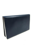 Dior Navy Leather Clutch with Silver Metal Frame