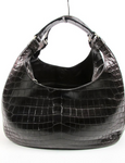 Bottega Veneta Brown Crocodile Compana Hobo Handbag
