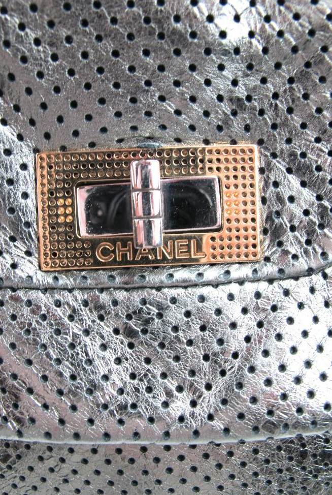 Chanel Metallic Drill Perforated Leather Large Reissue Flap Tote Bag