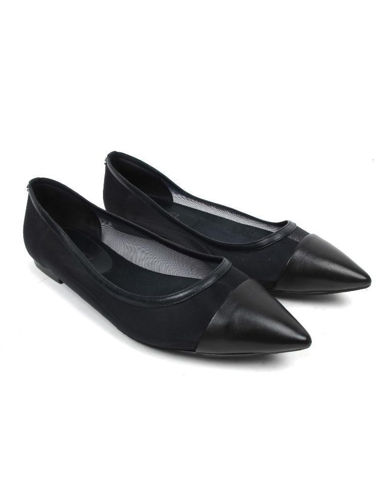 Chanel Black Pointed Toe Leather and Mesh Flats Size 38