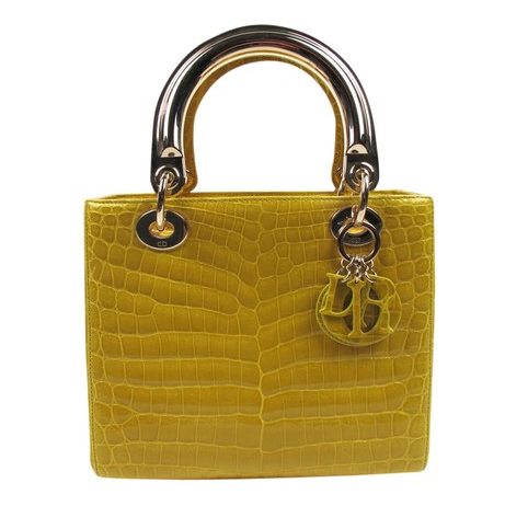Lady Dior Yellow Crocodile Skin Leather Shoulder Bag