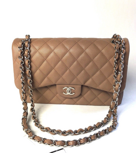 Chanel Jumbo Classic Flap Bag in Dark Beige New 2017 Collection