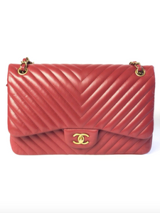 Chanel Jumbo Chevron Dark Red Flap Bag
