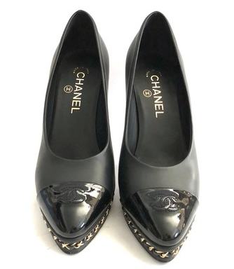 Black Leather Pumps with Cap Toes Platforms Size 38