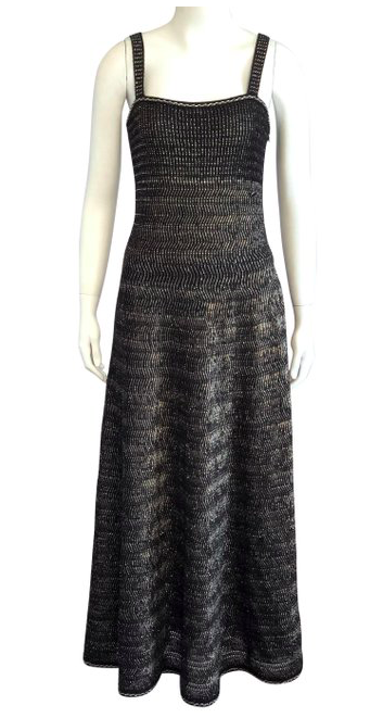 Chanel Metallic Black Dress Size 38