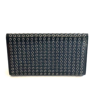 Alaia Black Leather Rivet Clutch with Flap