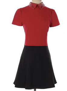 Valentino Red and Black A Line Dress with Studded Collar