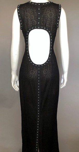 Chanel Black Lace Dress with Silver Pearls Size 38