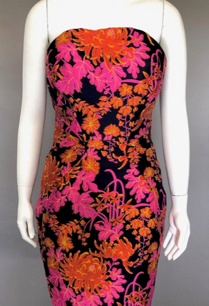 Zac Posen Orange and Pink Brocade Evening Gown Size 6