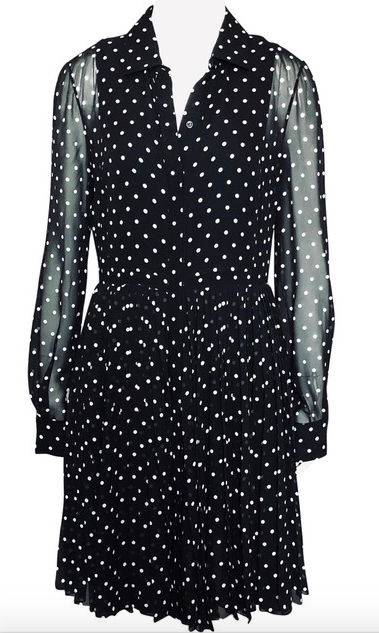 Christian Dior Black Polka Dot Silk Shirtdress