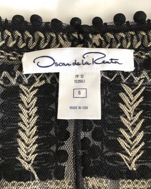 Oscar de la Renta Black and Ivory Sequin Jacket Size 6
