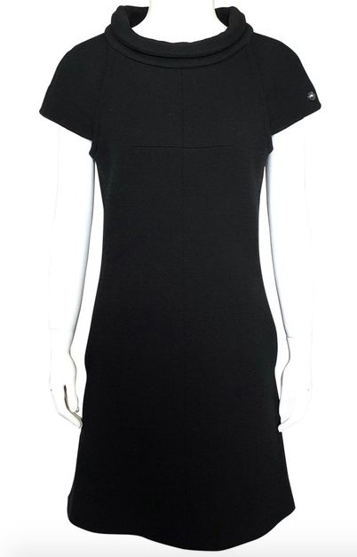 Chanel Black Funnel Neck Cap Sleeve Dress Size 38
