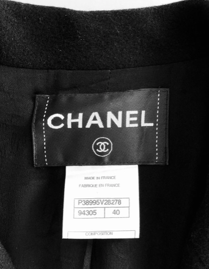 Chanel Black Single Button Jacket with Flare Cuffs Size 40