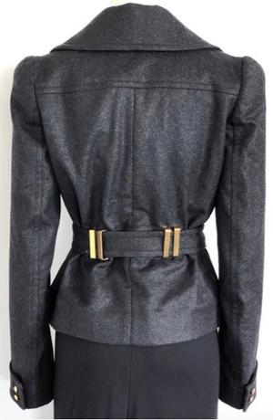 Tom Ford Gray Double Breasted Coat with Tie Size 42