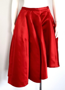 Christian Dior Red Satin Asymmetrical Pleated Skirt Size 40