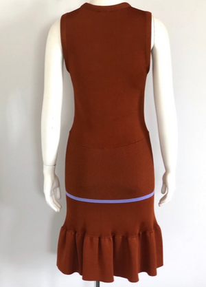 Chloe Rust Orange Sleeveless Knit Dress Size L