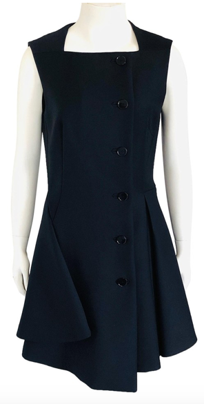 Christian Dior Navy Blue Asymmetrical Button Front Dress Size 38