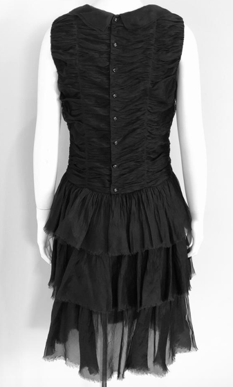 Chanel Black Ruched Tiered Dress with Collar Size 40