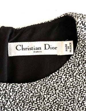 Christian Dior Black and White Textured Sleeveless Dress Size 40