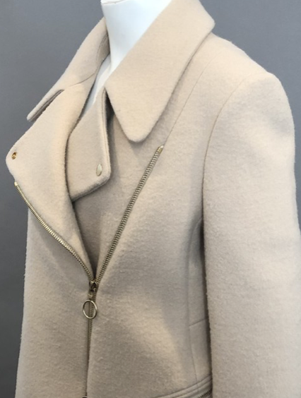 Chloe Beige Wool Moto Jacket with Gold Hardware Size 42