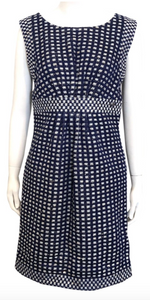 Chanel Navy Blue and Gold Tweed Sleeveless Dress Size 40