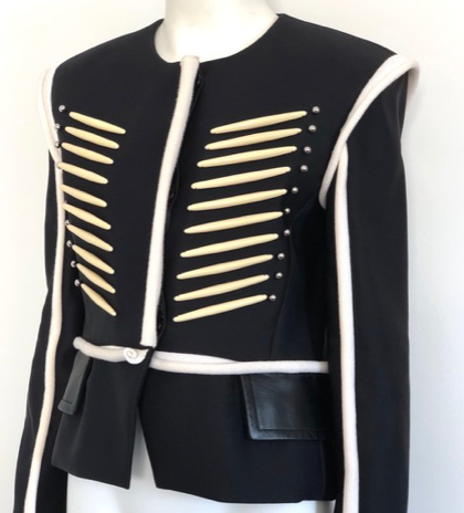 Louis Vuitton Black and White Military Beaded Jacket Size 38