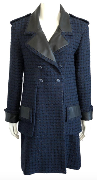 Chanel Navy Blue Metallic Tweed Coat with Leather Trim Size 40