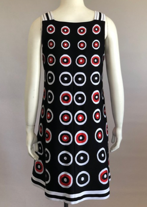 Alaia Black and Red Circle Knit Shift Dress Size 40