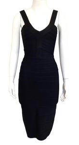 Herve Leger Black Bondage Dress Size XS