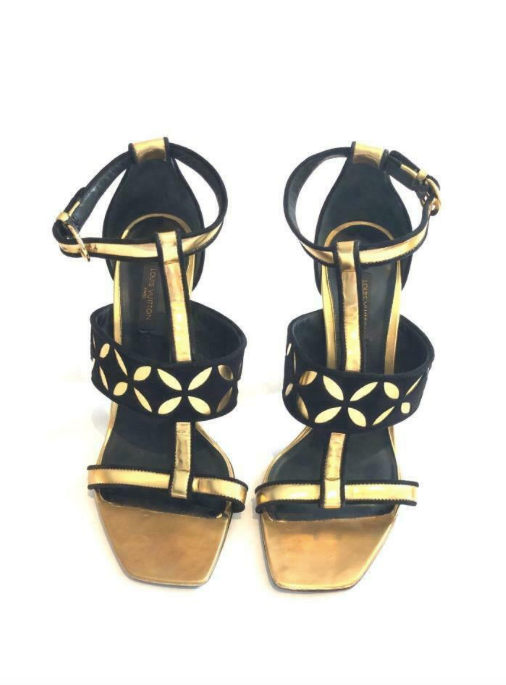 Louis Vuitton Antique Gold and Suede T Strap Sandals Size 38