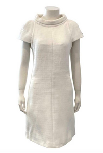 Chanel Ivory Funnel Neck Cap Sleeve Shift Dress Size 38