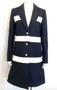 Louis Vuitton Long Navy Coat with White Leather Stripes Size 38