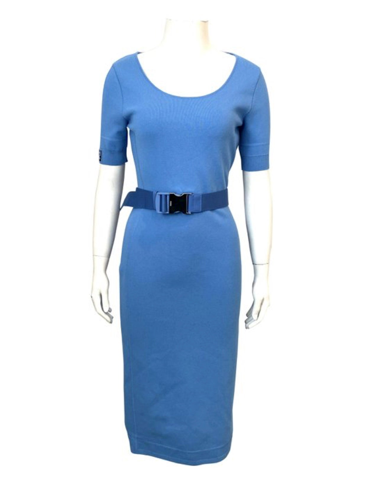 Fendi Blue Midi Dress with Belt Size 40