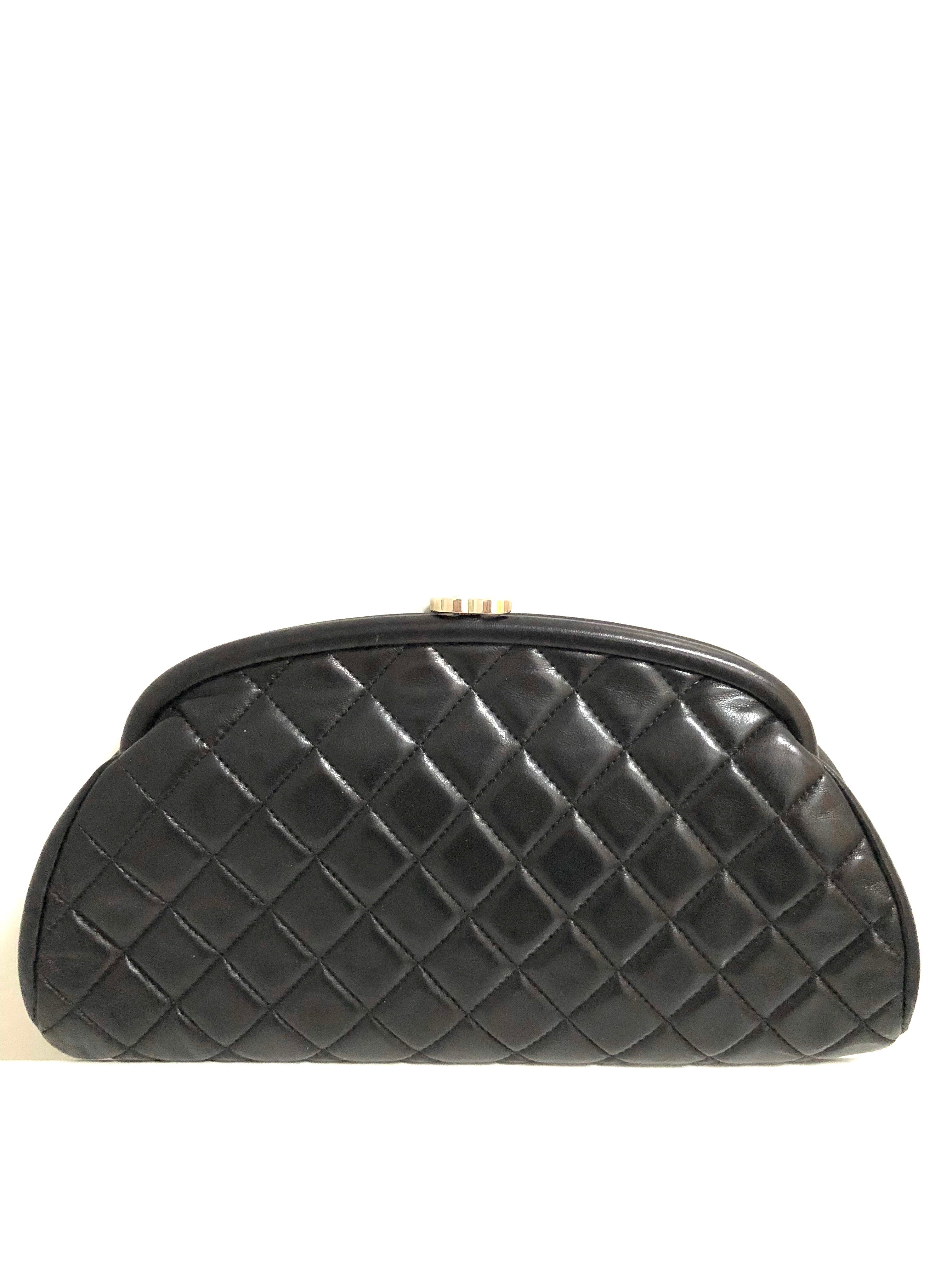 65b91d885629 Chanel Black Lambskin Leather Quilted Timeless Clutch with Silvertone –  Socialite Auctions