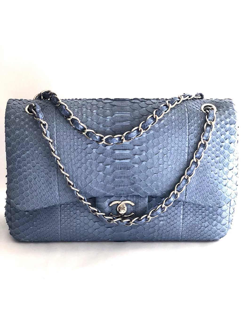 Chanel Classic Jumbo Double Flap Python Shoulder Bag