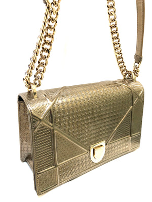 Dior Metallic Cannage Diorama Shoulder Bag