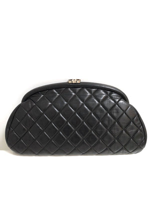 Chanel Black Lambskin Leather Quilted Timeless Clutch with Silvertone CC clasp