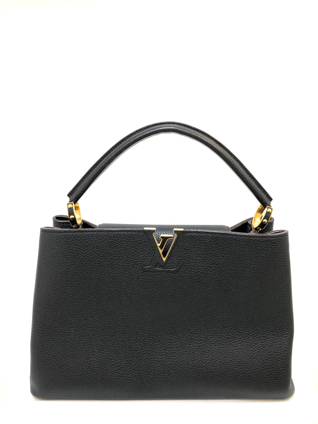Louis Vuitton Black Leather Capucines GM Handbag