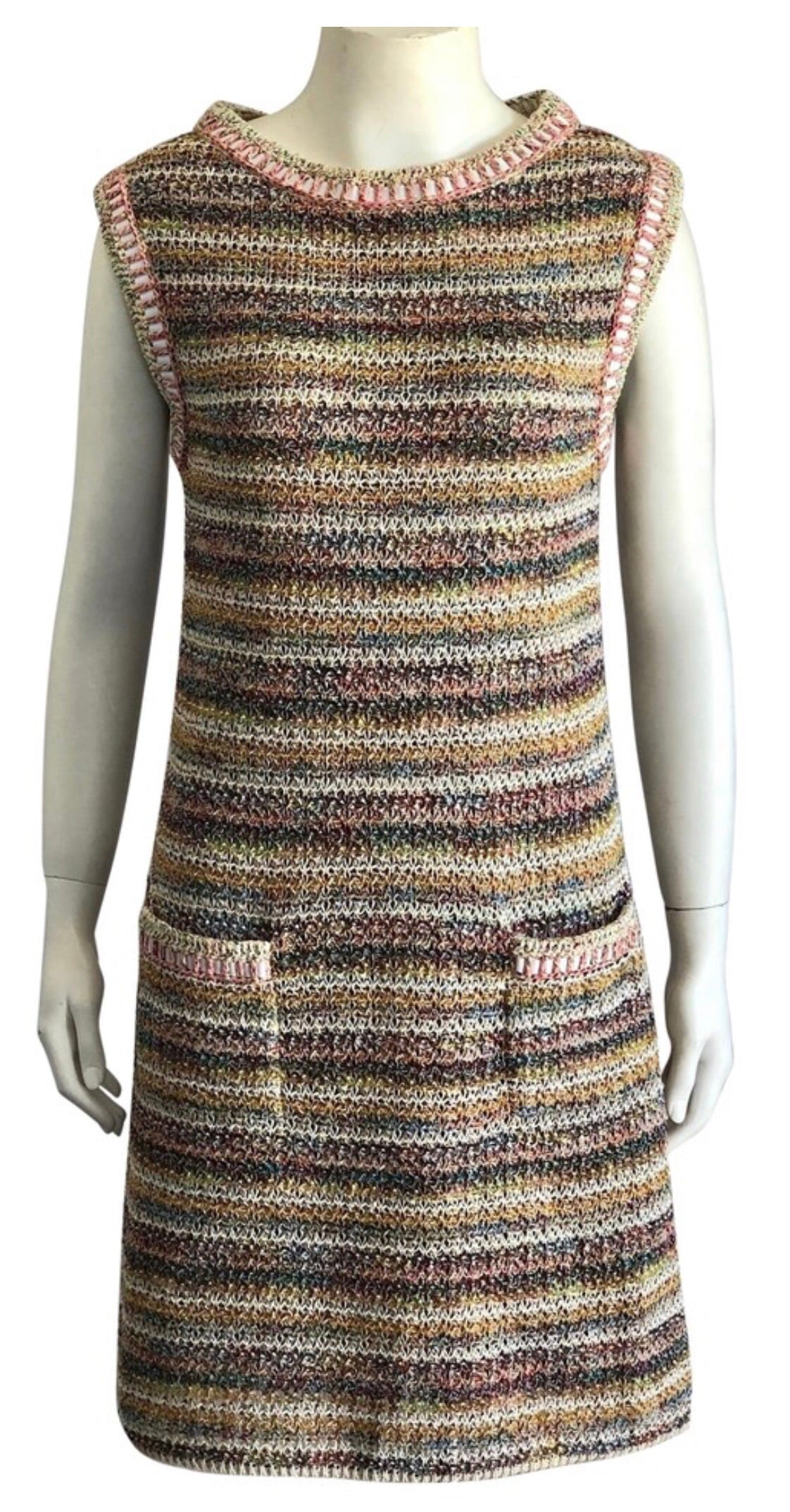 Chanel Multi Color Tweed Shift Dress with Pockets Size 40