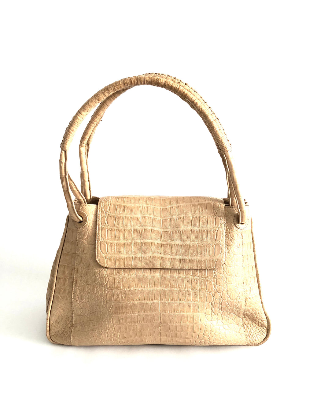 Nancy Gonzales Cream Crocodile Handbag