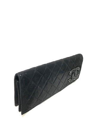Chanel Black Iridescent CC Strass Clutch with Crystal CC