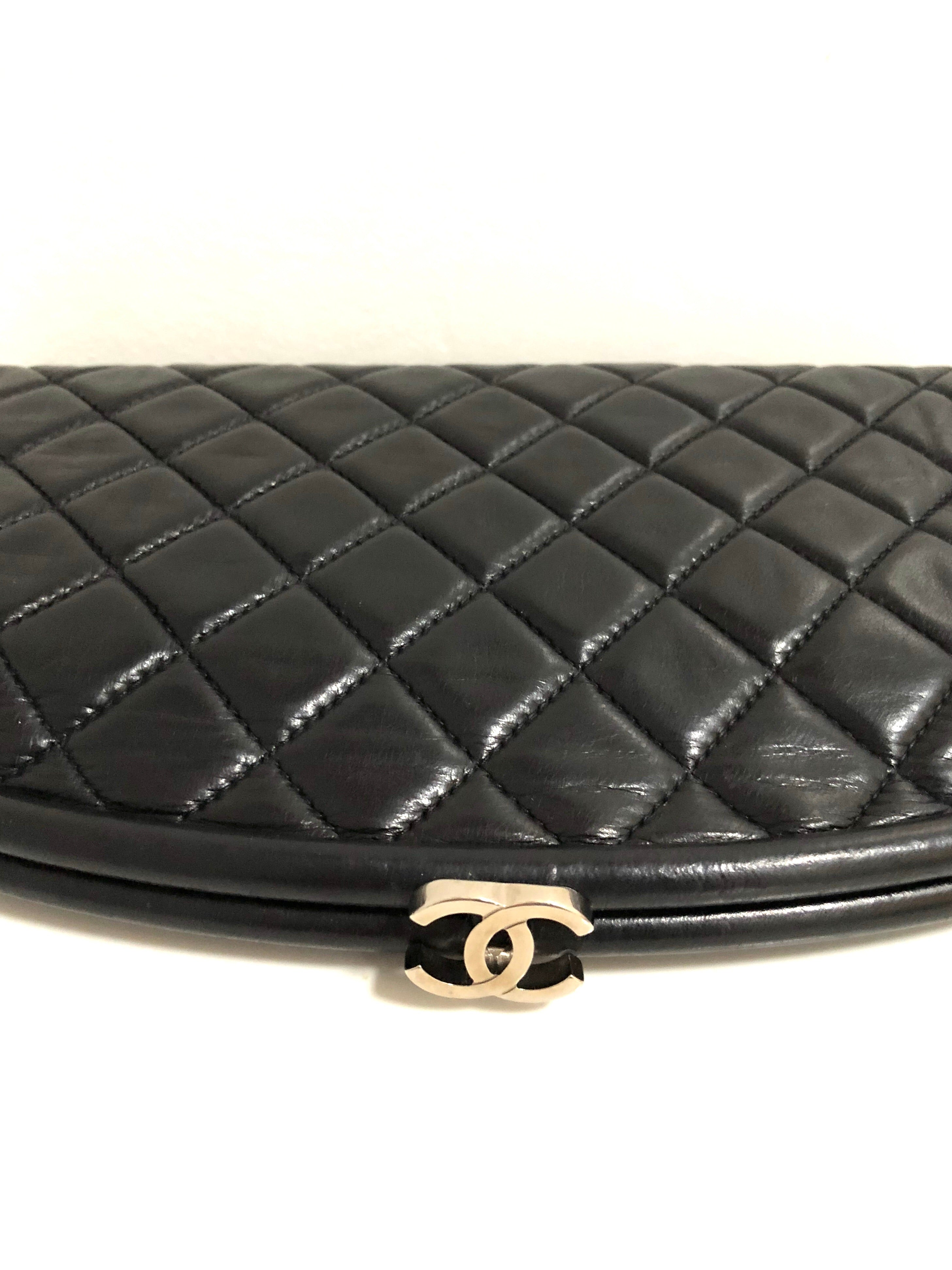 5f53465d0e5990 Chanel Black Lambskin Leather Quilted Timeless Clutch with Silvertone CC  clasp