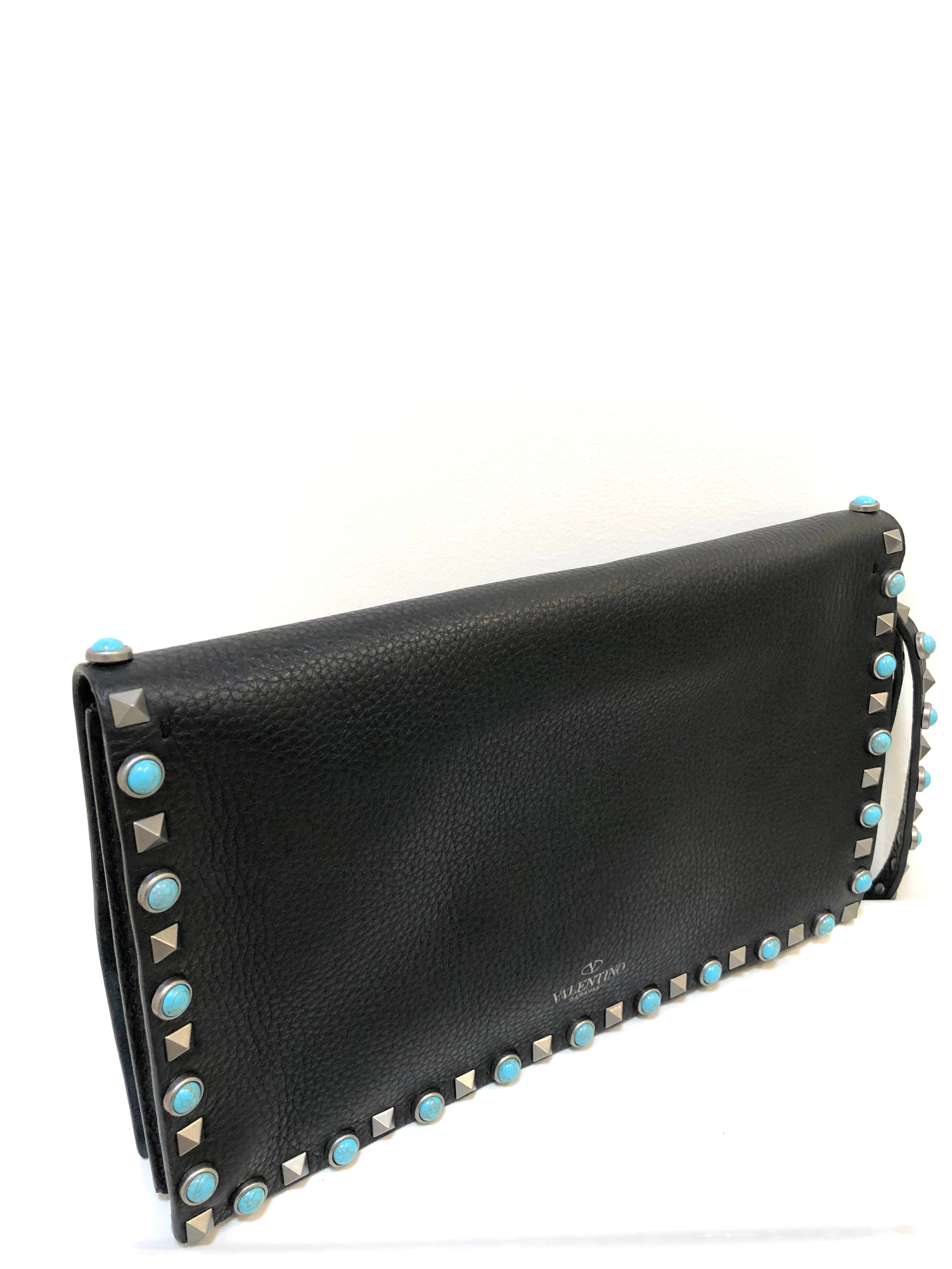 Valentino Black Leather with Turquoise Rockstud Rolling Bead Wristlet Clutch Bag