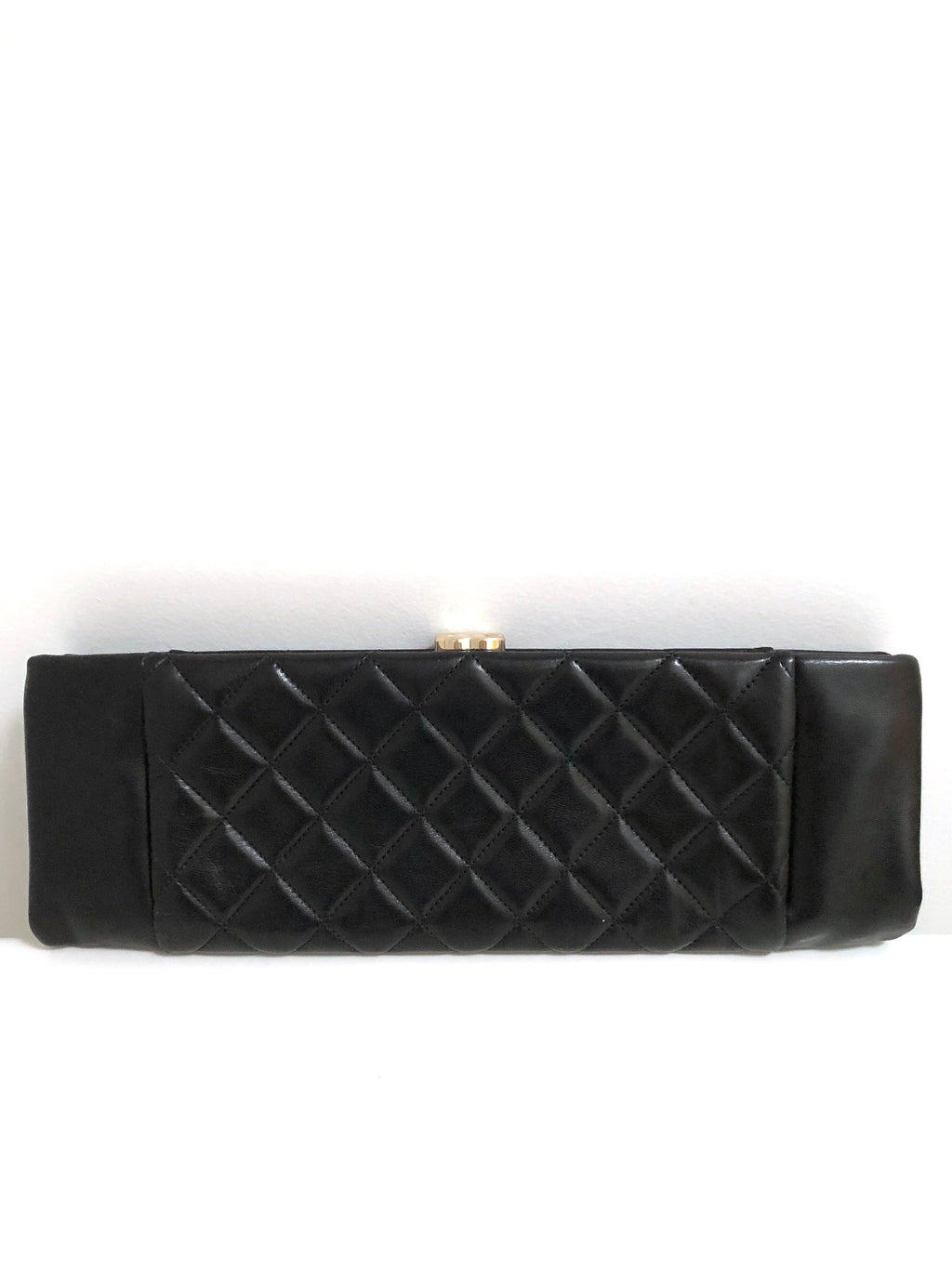 Chanel Quilted Black Leather East West Clutch with CC Clasp