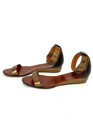 Lanvin Metallic Bronze Low Wedge Ankle Strap Sandals Summer 2012 Size 38.5