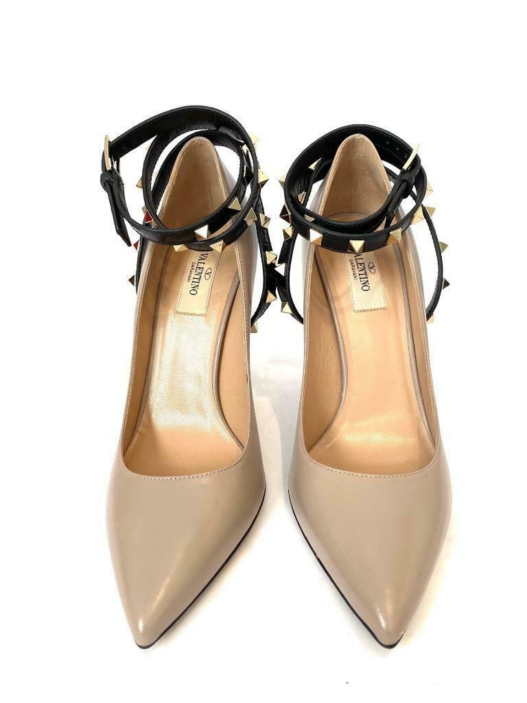 Valentino Studwrap Taupe and Black Leather Pumps New Size 38