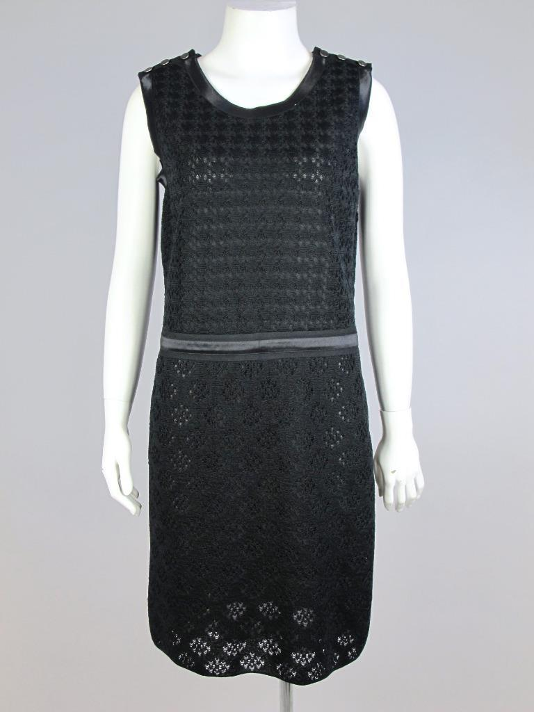 Chanel Black Silk Knit Sleeveless Dress Dallas Collection Size 38
